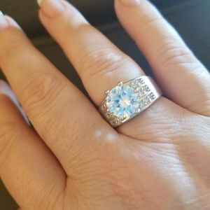Size 9 Sterling Silver 3 CT Engagement Ring